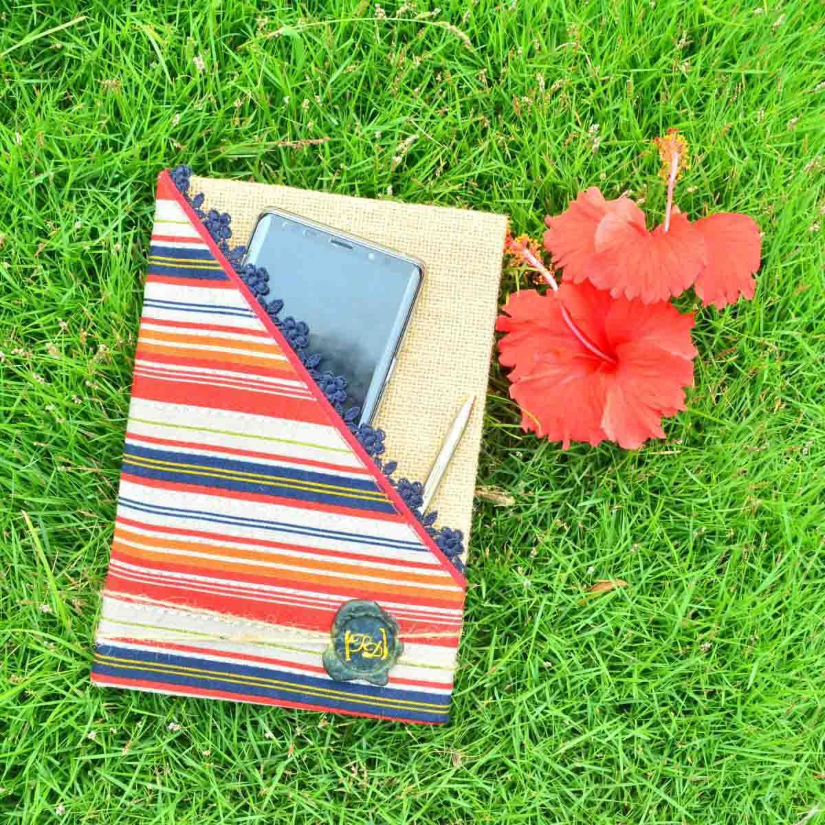 Multi-Color Stripes With Pocket Book (Burlap Collection)