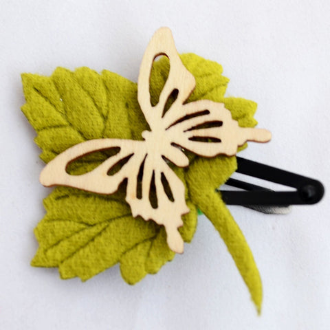 Butterfly Leaf Earthy Tones Clip Green Brown