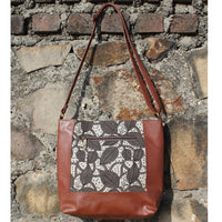 Dabu Print Faux Leather Creeper Satchel (Matt Brown & Grey)