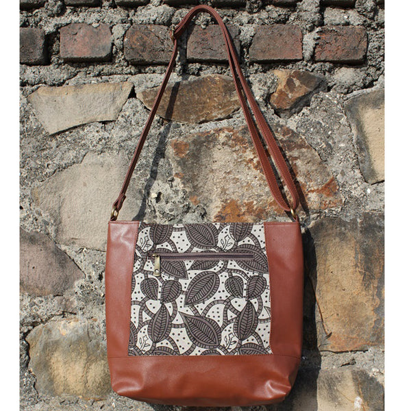 Dabu Print Faux Leather Creeper Satchel (Matt Brown & Grey) at Qtrove