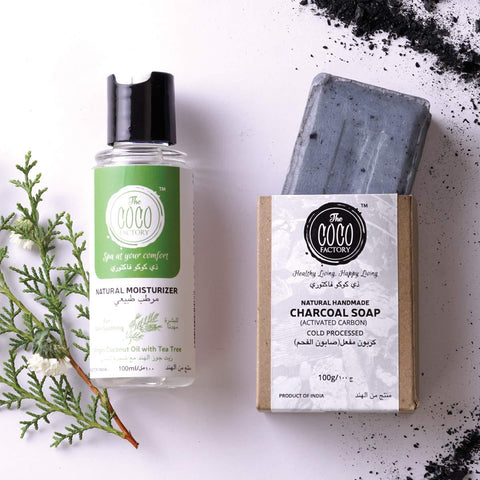 Coldpressed Charcoal Soap and Nautural Tea Tree Moisturizer (Combo Pack of 2)