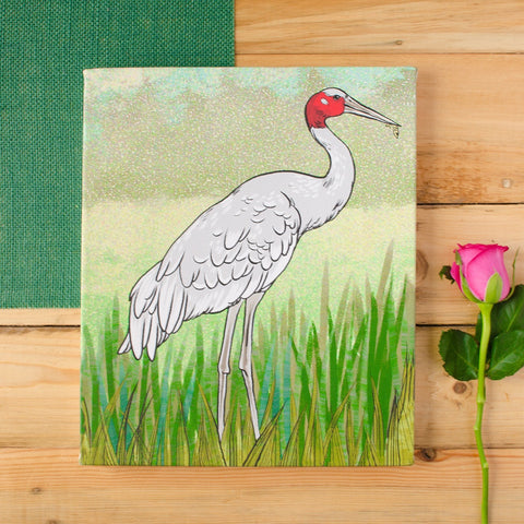 Crane Stretched Canvas Wall Art