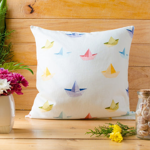 Paper Boats Cushion Cover