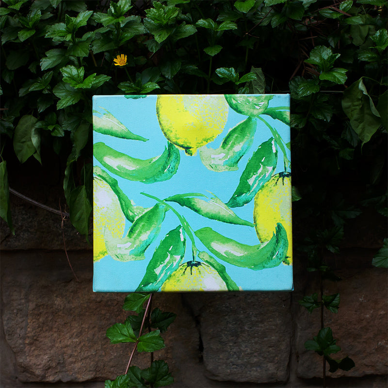 Canvas Wall Art Water Colour Lemon Leaf