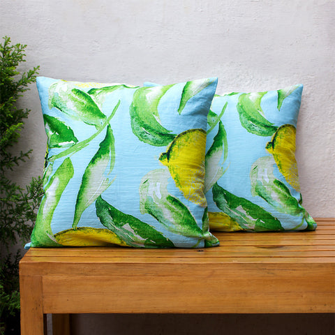 Cushion Cover Water Colour Lemon Leaf