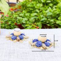 Cocoons & Roses Diya: Designer Dry Flower Botanical Diya/Candle Holders (Set of 2)