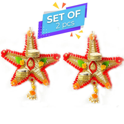 Star Hanging:Designer Dry Flower Botanical Diya/Candle Holders (Set of 2)