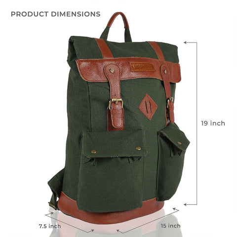 Canvas Leather Laptop Backpack (Olive Green)