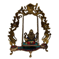 Carved Brass Ganesha On Jhula Idol