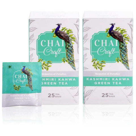 Kashmiri Kahwa Tea Royal Fusion Of Fragrant Spices, Almonds, Saffron And Green Tea (50 Teabags)