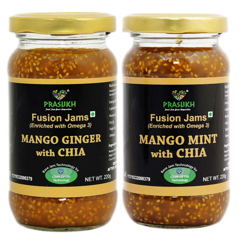 Chia Mango Ginger Jam and Chia Mango Mint Jam