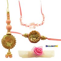 Chic Peachish Pink  Bhaiya Bhabhi Rakhi Set - 6items