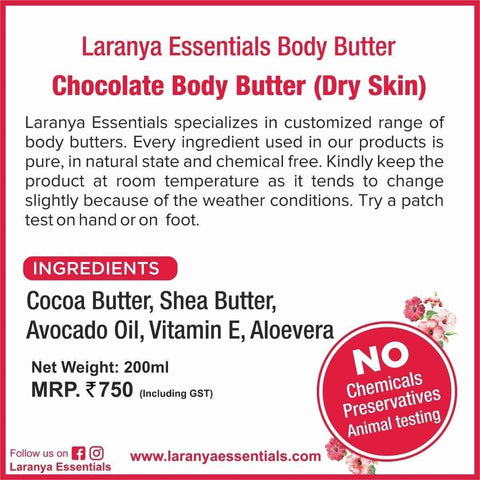 Chocolate Body Butter  - Dry Skin