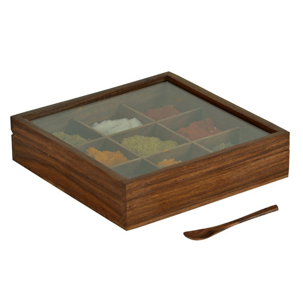 Spice Box With Container & Spoon In Sheesham Wood at Qtrove