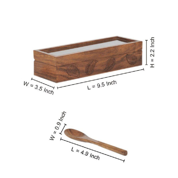 Engraved Multi-Utility Cum Spice Box With Container & Spoon In Sheesham Wood at Qtrove