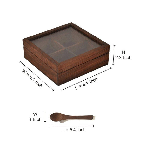 Wooden Spice Box With Container & Spoon In Sheesham Wood at Qtrove