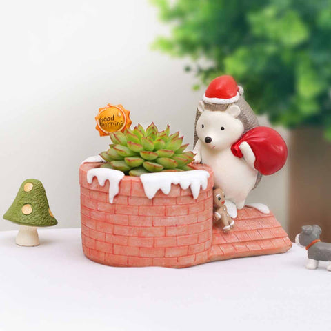Christmas Hedgehog on Chimney Resin Succulent Pot