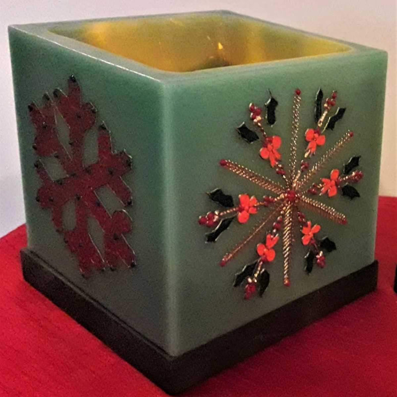 Christmas Snowflakes Green Hollow Square Candle Holder