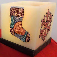 Christmas Stocking And Snowflakes Hollow Square Candle Holder