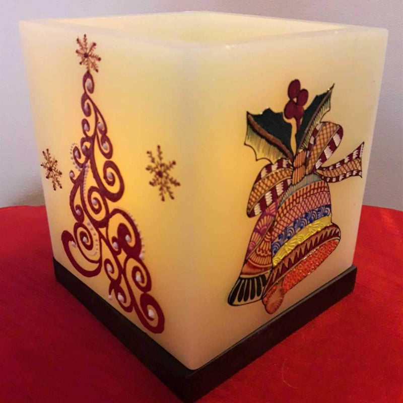 Christmas Tree And Bells Hollow Square Candle Holder