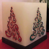 Christmas Trees Red And Green Hollow Square Candle Holder