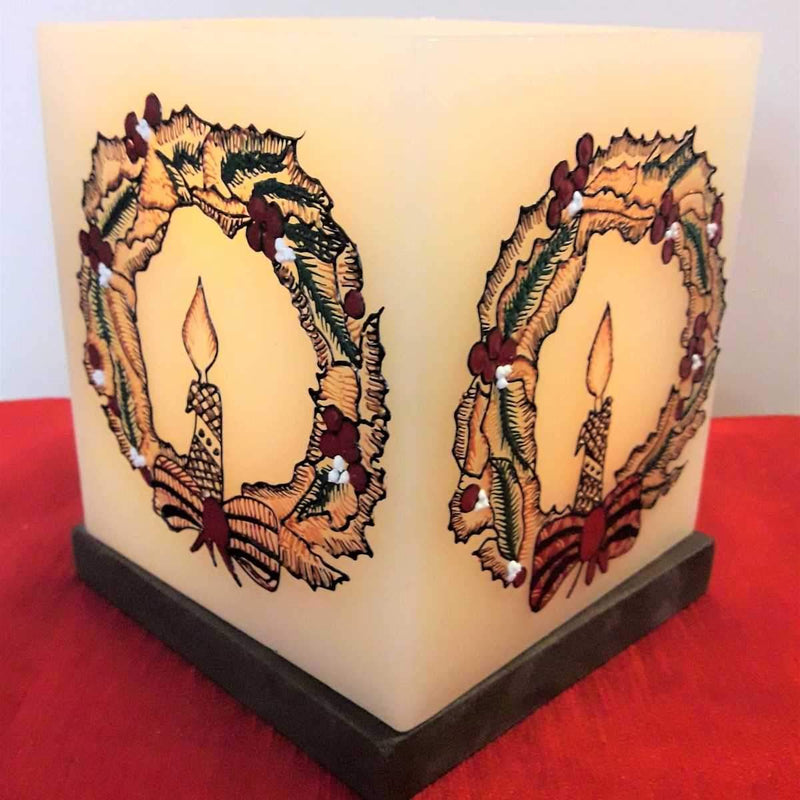 Christmas Wreath With Candle Hollow Square Candle Holder