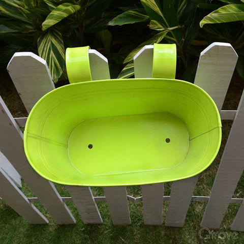 Plain Oval Railing Planter - Green