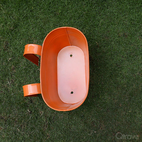 Plain Oval Railing Planter - Orange