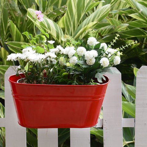 Plain Oval Railing Planter - Red