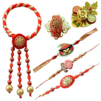 Classy Red Bangle Bhaiya Bhabhi Rakhi Set (Kids)