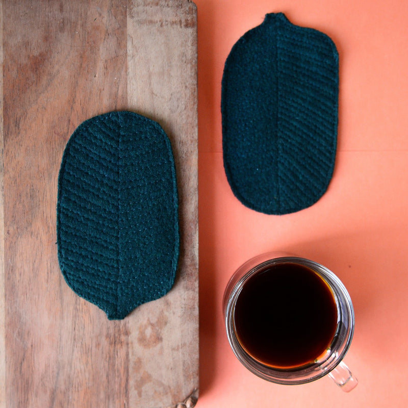 Eco-Friendly Felt Leaf Coasters (Green) (Set of 2)