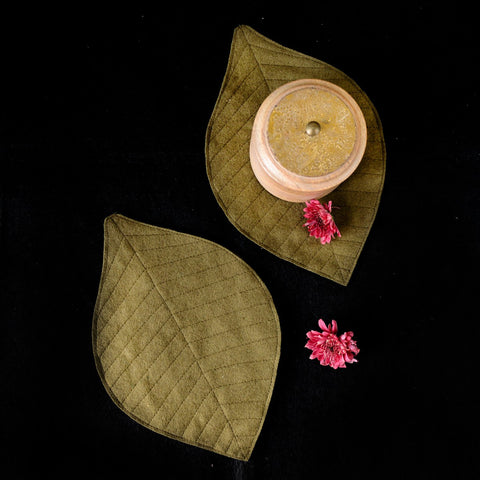 Eco-Friendly Felt Leaf Coasters (Olive Green)