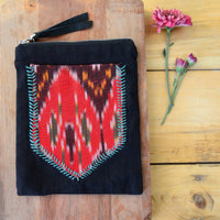Hand Stitched Black Ikat Back Pocket Pouch
