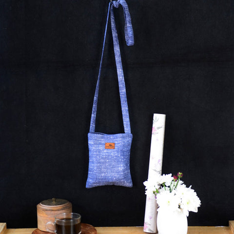 Handwoven Khadi Sling Bag (Blue)