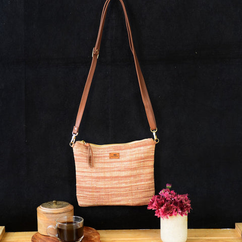 Handwoven Khadi Sling Bag (Contemporary Brown)