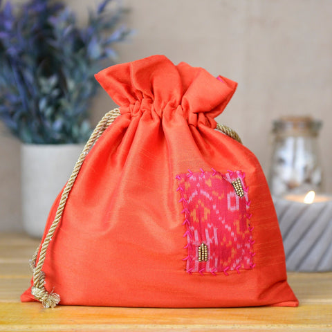 Indiegenius Hand Embroided Dupion Potlibags