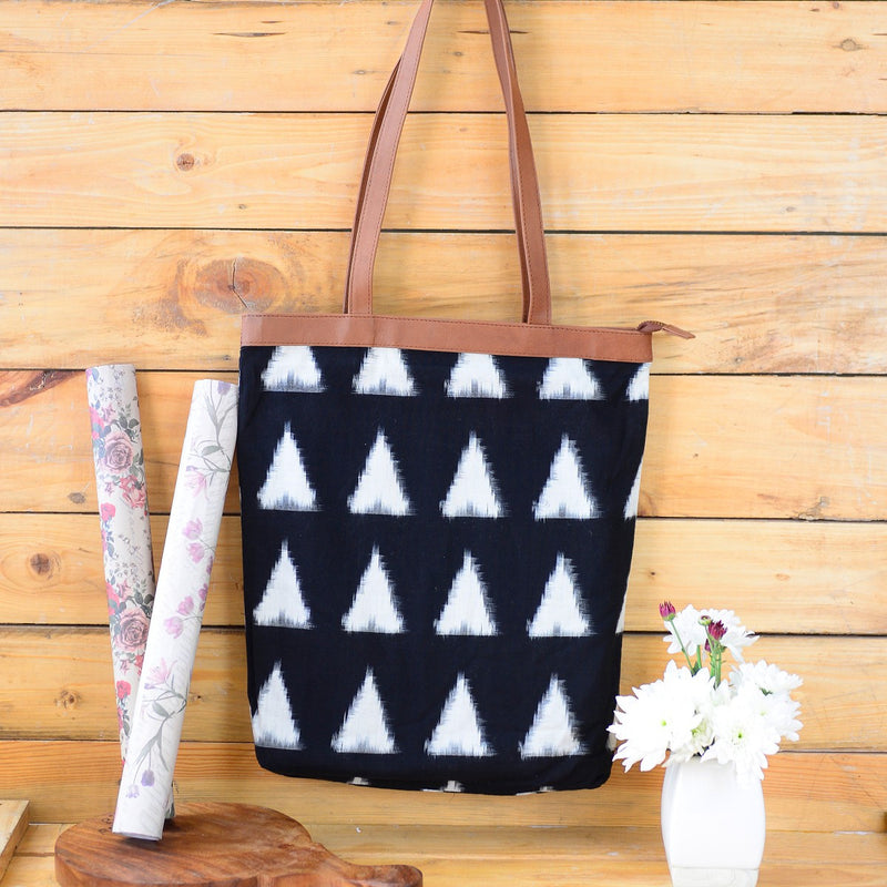 Handwoven Ikat Fabric Tote (Black And White)
