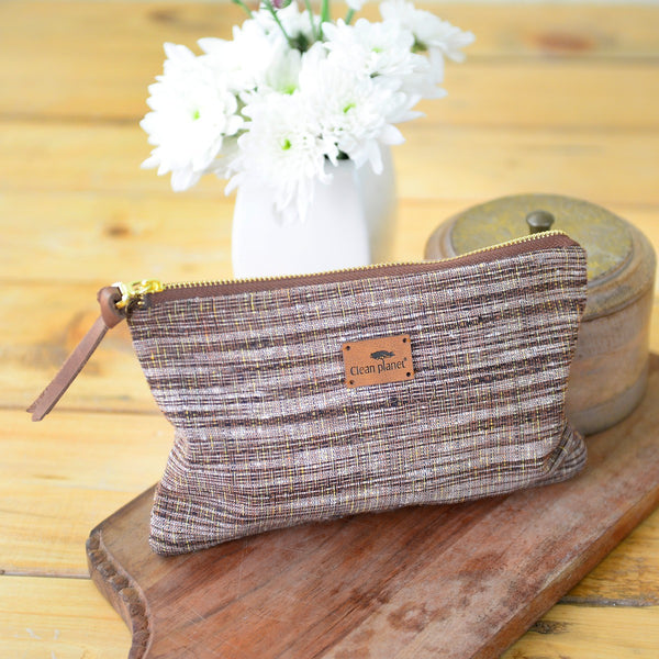Handwoven Khadi Pouch (Earthy Brown) at Qtrove