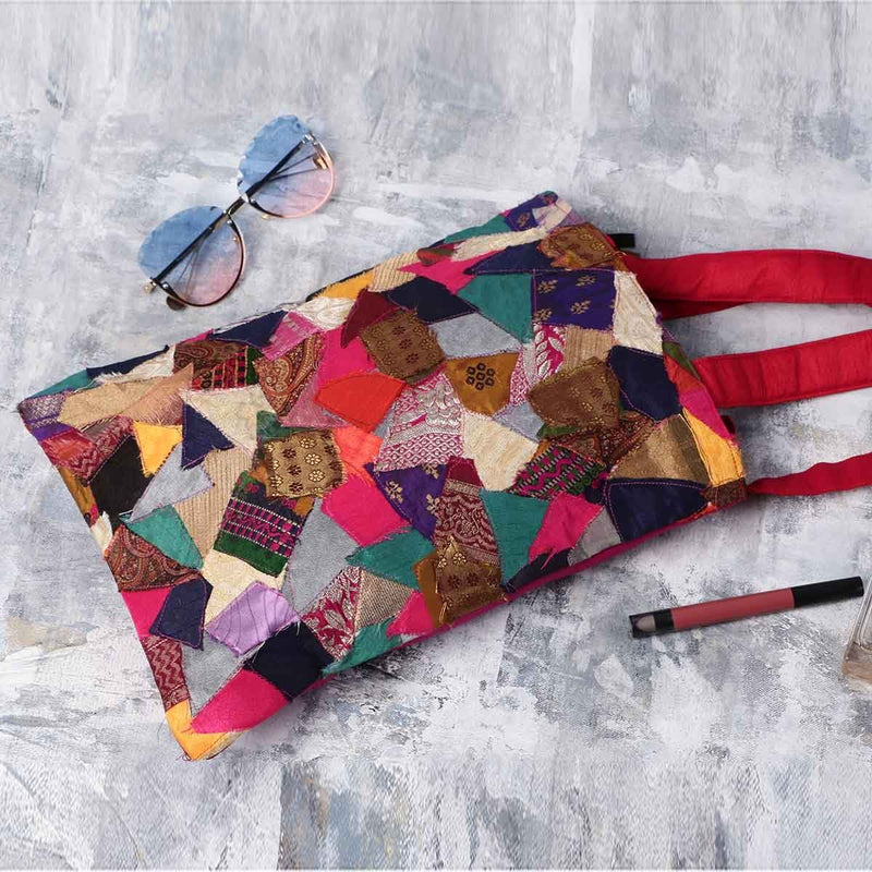 Clean Planet Handcrafted Vibrant Patchwork Tote
