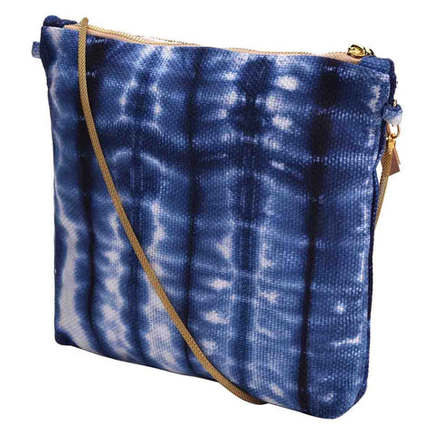 Clean Planet Shibori Hand Embroidery Clutch  - Indigo