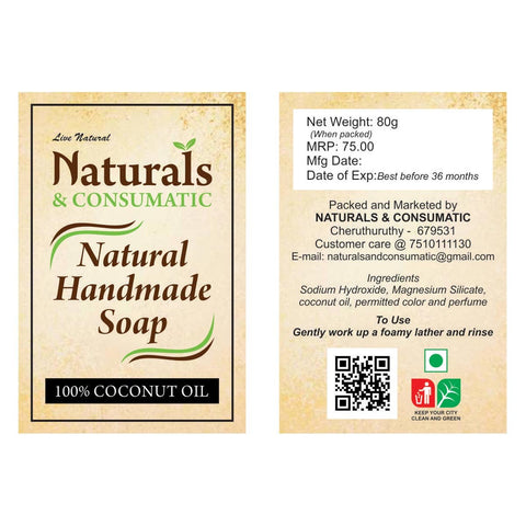 Coconut Oil Natural Handmade Soaps (Milky) (Pack of 4)
