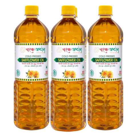 CharakAshtanga Cold Pressed Safflower Oil (Pack of 3)