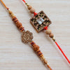 Contemporary Rakhi With Sacred Swastik & Rudraksh Rakhi