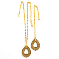 Contemporary Textured Minimalist Maang Tikka and Necklace Set Accessories Gold Festival Jewelry