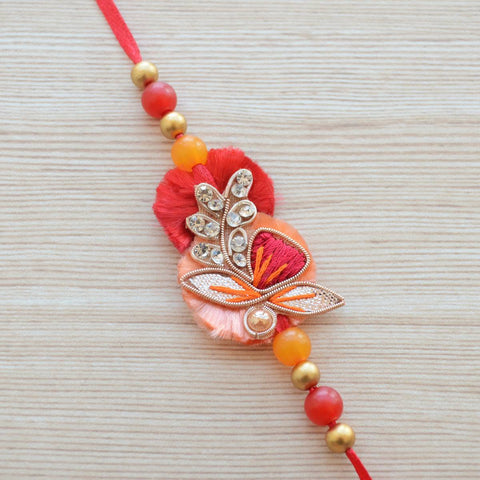 Coral and Red Festive Rakhi (Brother)