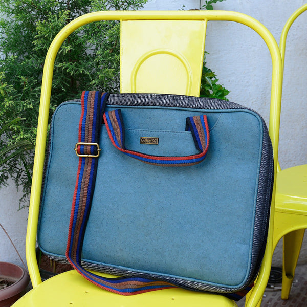 Handcrafted Cork Leather Teal Laptop Bag at Qtrove