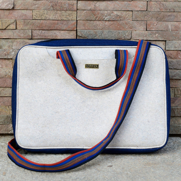 Handcrafted Cork Leather White Laptop Bag at Qtrove