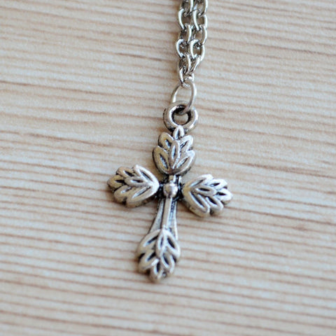 Silver Cross Pendant with Chain Necklace