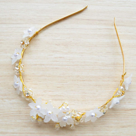 Crystal Beads Pearl Gold Flower Hair Vine Party Wear Metal Hairband
