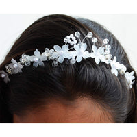 Crystal Beads Pearl Silver Flower Hair Vine Party Wear Metal Hairband